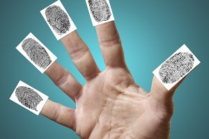 Open hand with fingerprints isolated