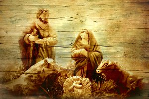 Nativity Scene in old wooden texture