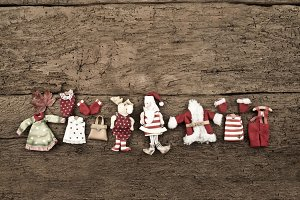Christmas Santa wooden background