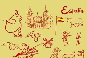 Spain symbols vector set