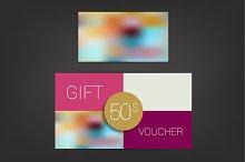 Trend color flat design gift voucher