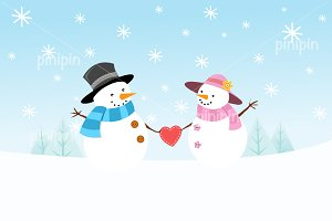Snowman Couple In Love