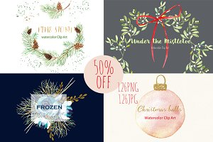 50%off Winter christmas watercolor.