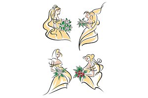 Blonde brides in doodle sketch style
