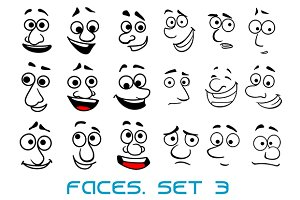 Cartoon doodle faces with different