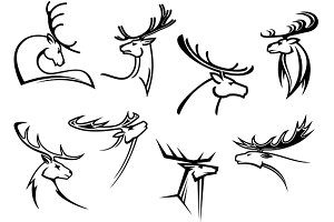 Proud profile of deer in outline sty