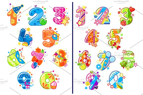 Cartoon childish numbers and digits in Graphics
