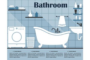 Flat blue bathroom interior