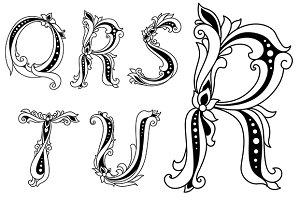 Floral capital letters Q, R, S, T, U