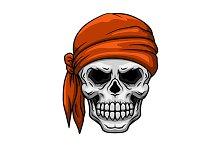 Skull in orange bandana