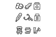 Outline medical icons set