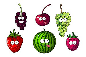 Cute happy colorful cartoon fruits a