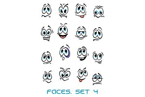 Cartoon faces set with many emotions