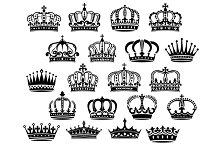 Royal medieval heraldic crowns set