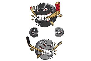 Angry evil hockey puck chomping a st