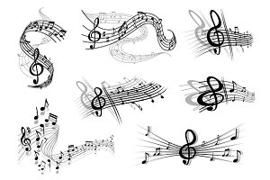 Musical waves with notes and a clef
