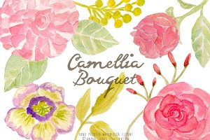 Watercolor Camellia Flowers