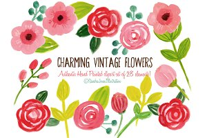 Watercolor Vintage Flowers