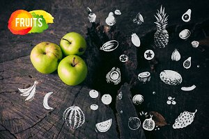 Hand-drawn fruit. vector