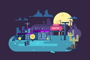 Motel night flat design