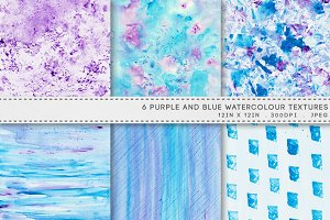 6 Watercolor Textures Blue Purple
