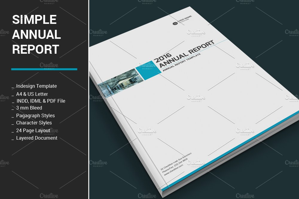 Simple annual report brochure templates creative market maxwellsz