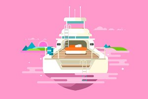 Yacht flat design