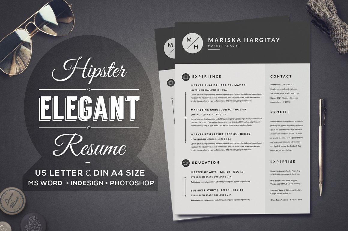 2 Pages Hipster Elegant Resume ~ Resume Templates ~ Creative Market