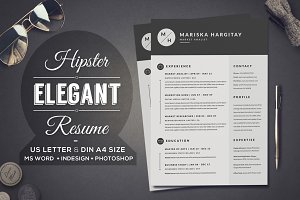 2 Pages Hipster Elegant Resume