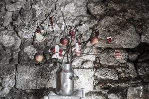 Christmas rustic decoration greeting