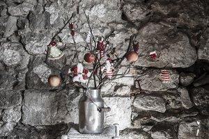 Christmas rustic decoration greeting