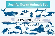 Sealife, Sea Fish and Animals Set