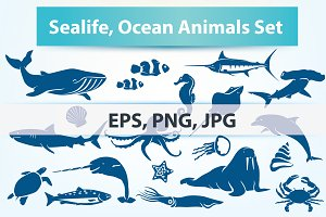 Sealife, Sea Fish and Animals Set