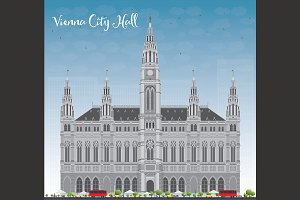 Viena City Hall in gray color