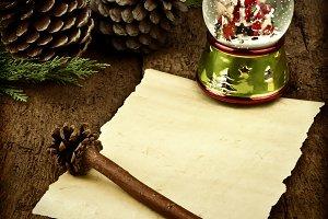 Blank parchment Christmas card