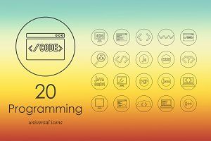 20 programming line icons