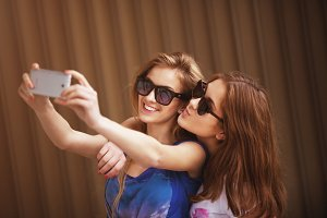 girl friends taking a self portrait