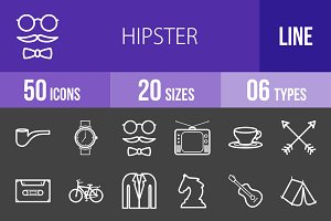 50 Hipster Line Inverted Icons