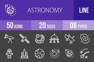 50 Astronomy Line Inverted Icons