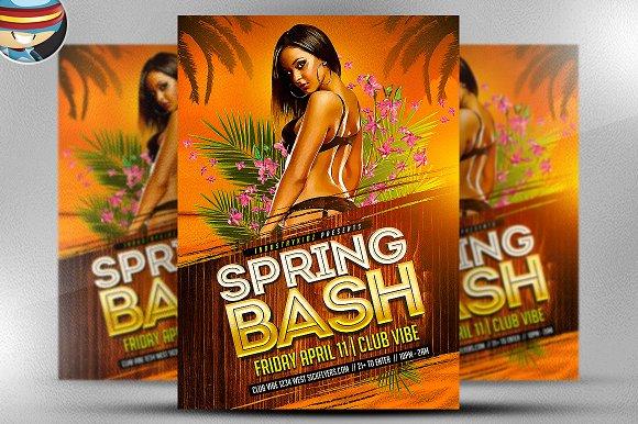 spring bash flyer template 2 flyer templates on creative market. Black Bedroom Furniture Sets. Home Design Ideas