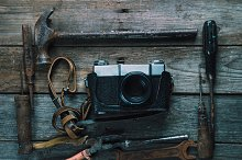 Working tools and photo camera