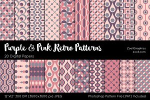 Purple And Pink Retro Digital Papers