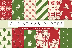 Red & Green Christmas Digital Papers