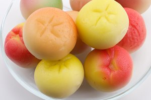 Marzipan fruits on a plate