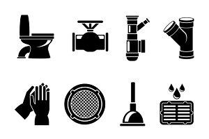 Sewerage icons set
