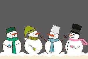4 Christmas Snowman. Vector