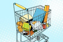 grocery trolley with food