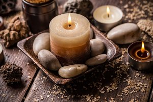 Relaxation setting with candles
