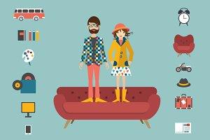 Hipster couple illustraton.