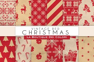 Vintage Red Christmas Digital Papers